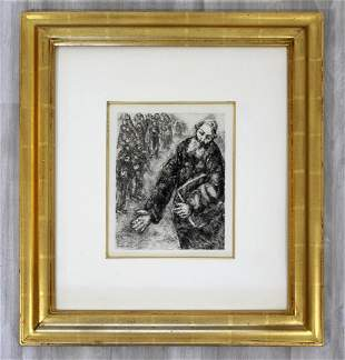Marc Chagall Signed Joshua Reading Words of Law Framed