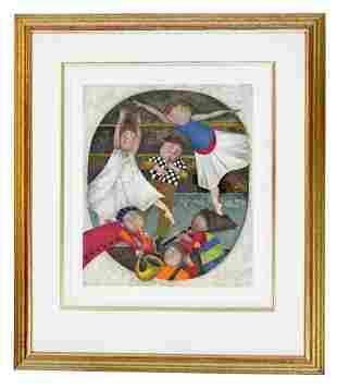 Gold Gilt Framed Lithograph Signed Graciela Boulanger
