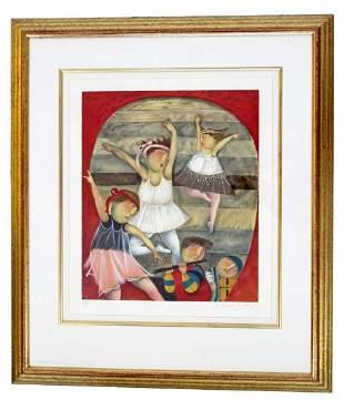 Gold Framed Lithograph Signed by Graciela Boulanger