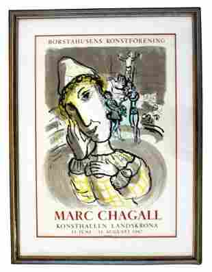 Vintage Framed Marc Chagall Poster Lithograph 1967