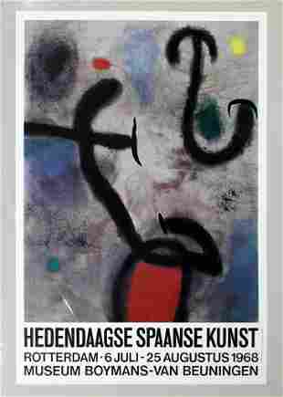 Miro Hedendaagse Spaanse Kunst Poster 1968 Abstract Red