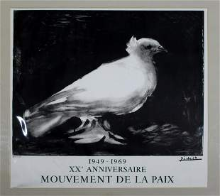 Picasso XX Anniversaire Poster 1969 Mouvement de la