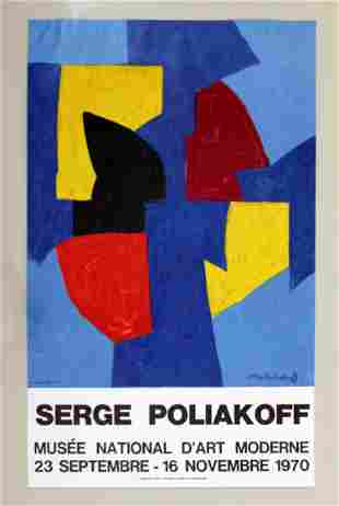 Serge Poliakoff Musee d'Art Poster 1970 Red Blue Yellow