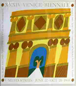 Carol Summers Venice Biennale 1969 Poster Gold Blue