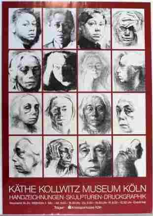 Vintage Kathe Kollwitz Museum Koln Art Poster Faces