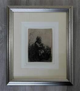Rembrandt Jerome Kneeling in Prayer Etching 1635 Framed
