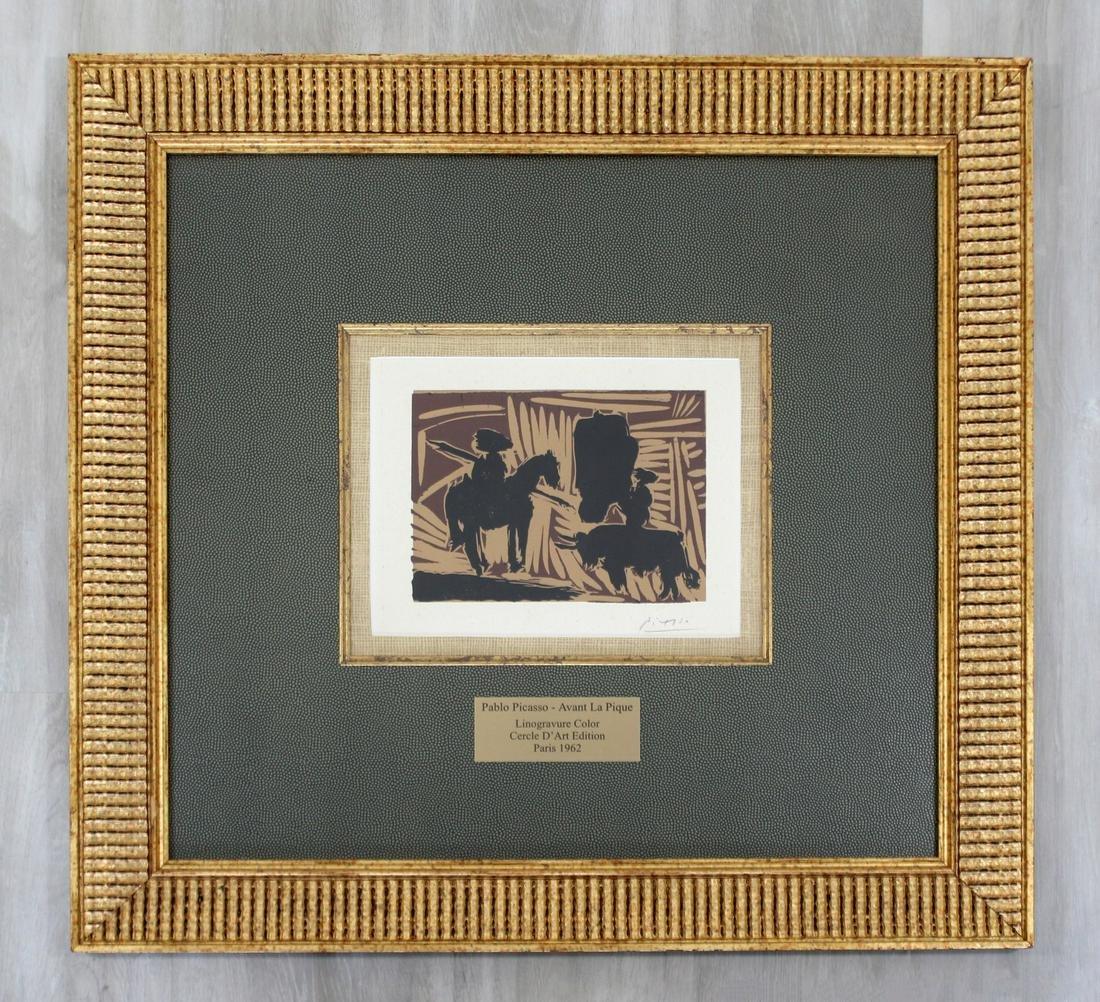 "Picasso ""Avant La Pique"" Lino Cut Signed Lithograph"