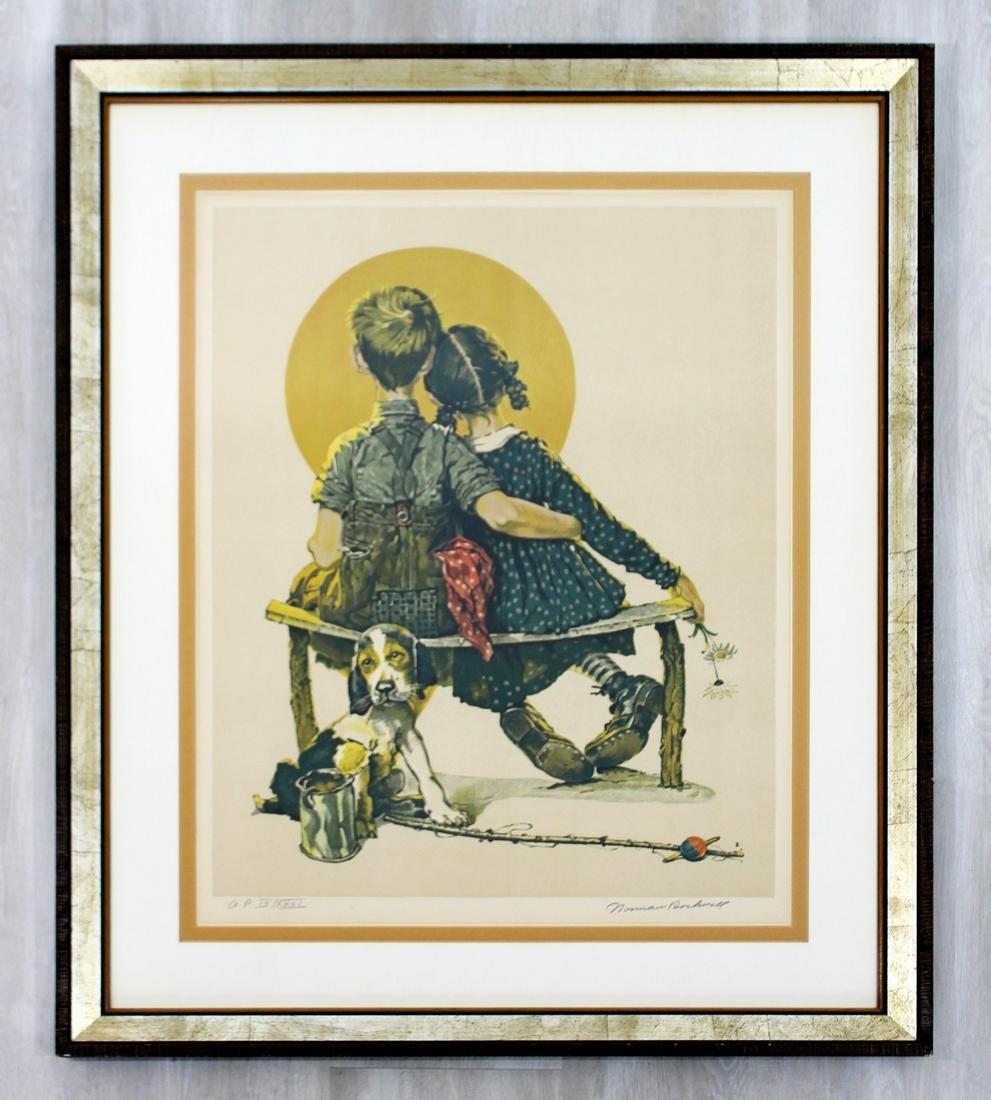 Framed A.P. Litho Signed Norman Rockwell The Young