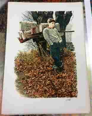 Young Boy Paul Calle Hand-Signed Lithograph