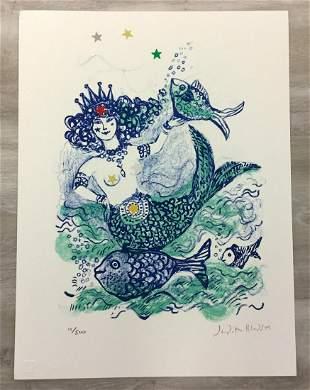 Mermaid Queen Judith Bledsoe Signed Lithograph Unframed