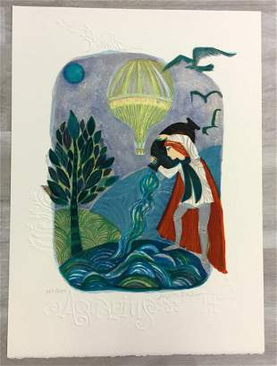 Aquarius Judith Bledsoe Hand-Signed Lithograph Unframed