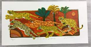 A Leap of Leopards Judith Bledsoe Signed Lithograph