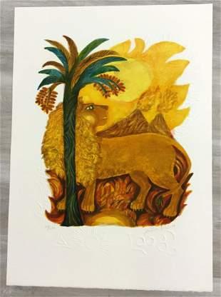 Leo Judith Bledsode Signed Romantic Lithograph Unframed