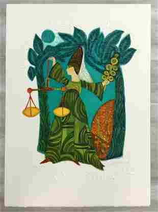Libra Judith Bledsoe Signed Romantic Lithograph