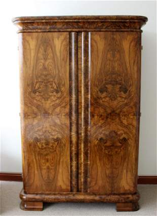 Art Deco Curved Burl Wood Armoire Dresser w Drawer