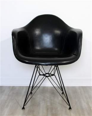 Early Charles Eames Eiffel Tower Base Leather Armchair