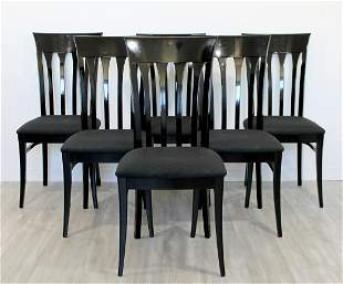Ello Set of 6 Black Lacquer Side Dining Chairs 1980s