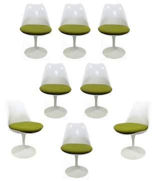 Modern 8 Saarinen Knoll White Tulip Side Swivel Chairs