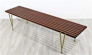 Hugh Acton Cherry Wood Brass Legs Coffee Table Bench