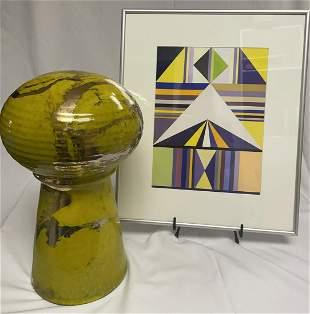 John Loree Retro Green Ceramic & Geometric Painting