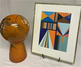 John Loree Retro Orange Ceramic & Geometric Painting