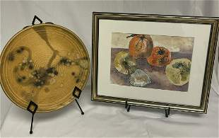 John Loree Yellow Ceramic Plate & Vegetable Still Life