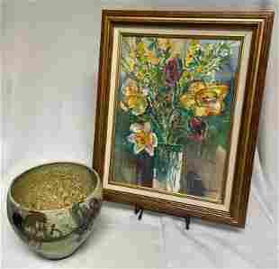 John Loree Vase Ceramic Bowl & Vase of Flowers Painting