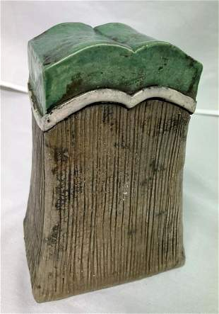 Jerry Berta Signed Ceramic Vertical Vessel with Green