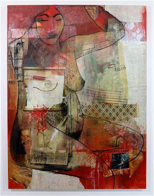 Ilene Kahan Lady in Red Collage Acrylic Painting Canvas