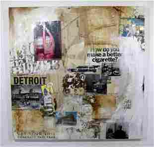 Ilene Kahan Iconic Dreamer Collage Acrylic Painting