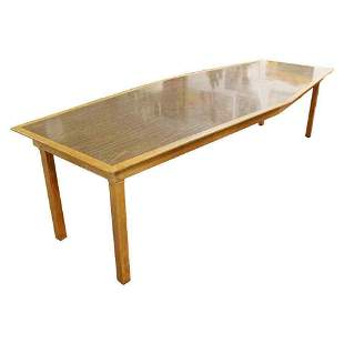 Custom Made Diamond Shape Dining Conference Table 1960s