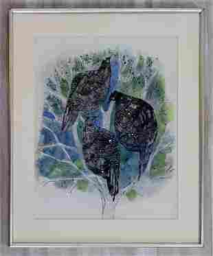 Kingsley Calkins Guinea Hens Signed Watercolor Framed