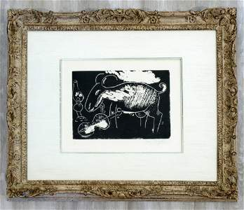 Marc Chagall Ziege mit Geige Hand Signed Woodcut Framed
