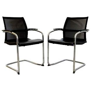 Knoll Set of 8 Chrome Cantilever Black Dining/Office