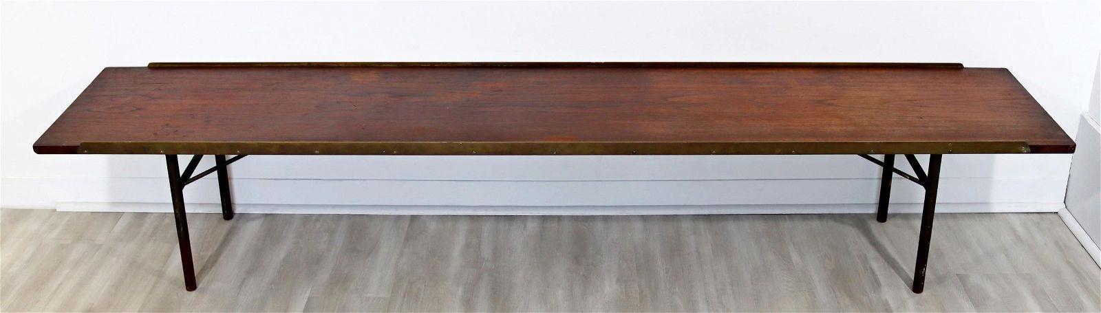 Danish Teak/Brass Long Bench Seat Coffee Table
