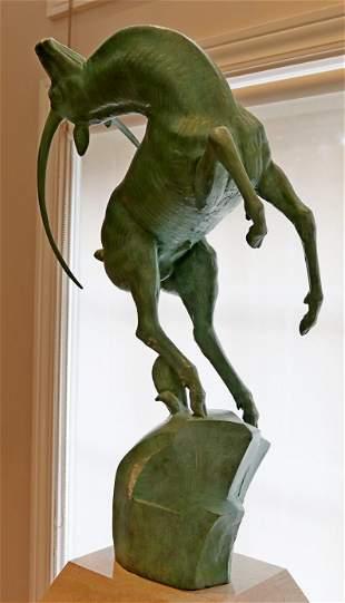 Marshall Fredericks Leaping Gazelle Bronze Sculpture