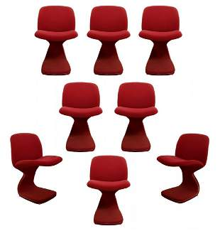 Set of 8 Italian Dining Side Chairs Paulin or Saporiti