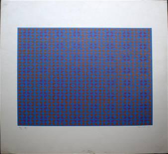 Op Art 1969 Vintage Signed Lithograph Unframed