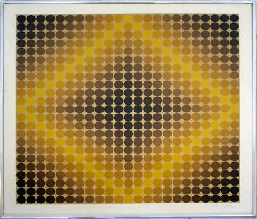 Victor Vasarely Dia-Or 1967 Signed Op Art Serigraph