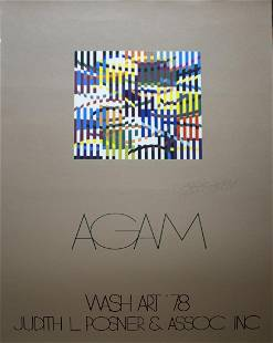 Yaacov Agam Signed Exhibition Poster Wash Art 78