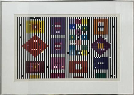 Yaacov Agam Espace 1973 Hand Signed Serigraph Framed