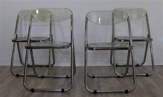 Set of Four Lucite and Chrome Folding Chairs 1960s