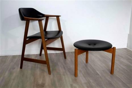Mid Century Modern Teak & Leather Chair with Ottoman