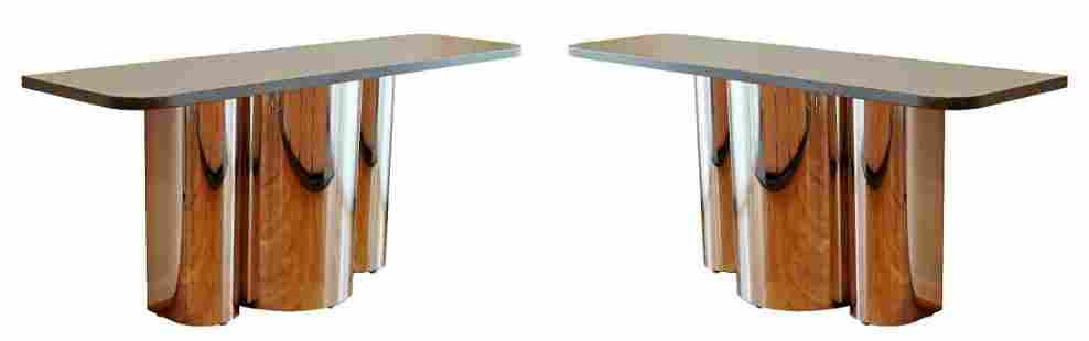 Pair of Brueton Marble on Chrome Rounded Console Table