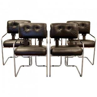Set of 4 Pace Tacoma Black Leather Dining Chairs 1970s