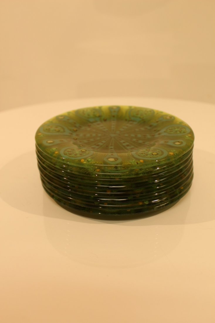 Higgins Signed Small Plates Green 8 Piece Set
