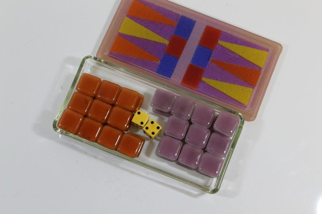 Higgins Signed Glass Backgammon Complete Set