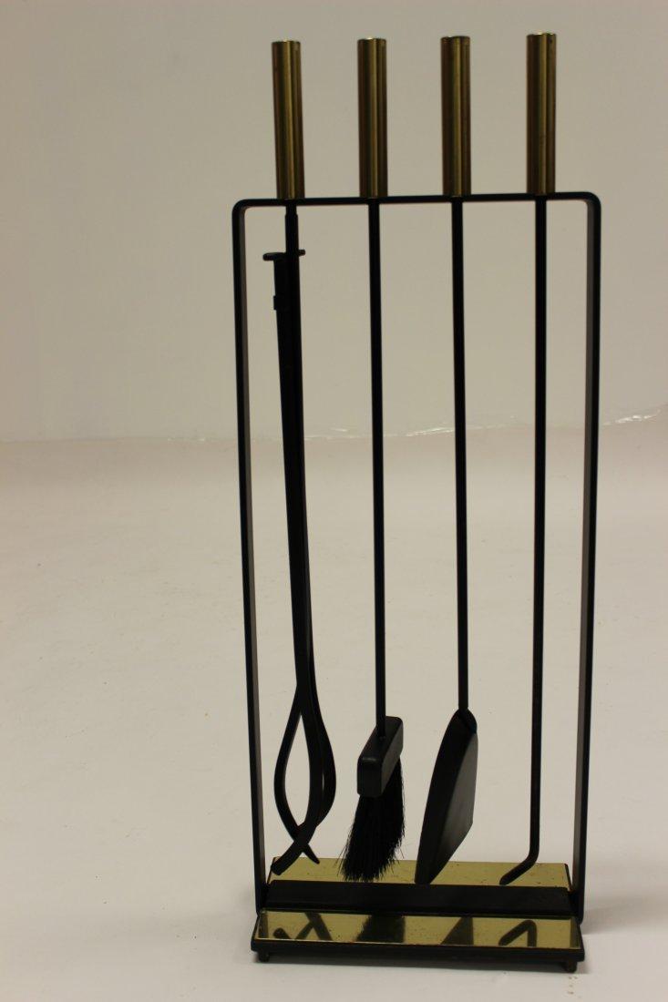 Wrought Iron & Brass Pilgrim Fireplace Tool Set
