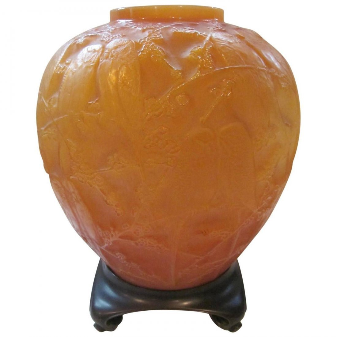 Rare Rene Lalique Perruches Vase with Bronze Base 1919