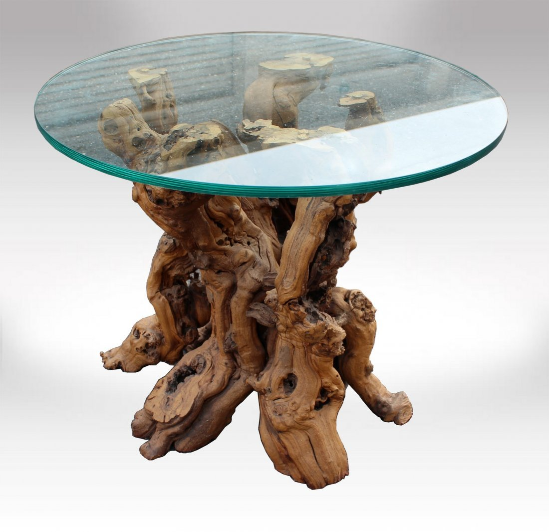 burl wood driftwood glass top side end table
